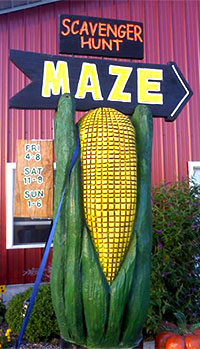 Guest cards are punched at each post to show who found all 12 posts in the corn maze at Knollbrook Farm in Goshen, Indiana