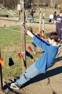 Sling shot your pumpkin for aim and accuracy at Knollbrook Farm in Goshen, Indiana